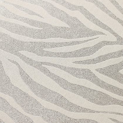 Image for Superfresco Easy Paste the Wall Zebra Glitter Wallpaper - Silver from StoreName