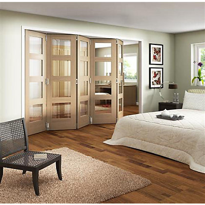 Image for Room Glazed Folding Oak Internal Doorset - 3158mm Wide from StoreName