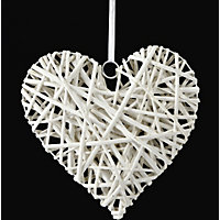 Wicker Heart Hanging Ornament - White