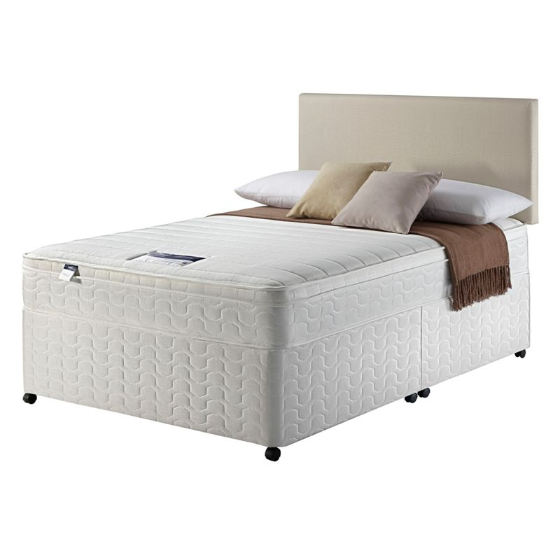 Silentnight miracoil travis cushiontop superking 4 drw divan for Silentnight divan