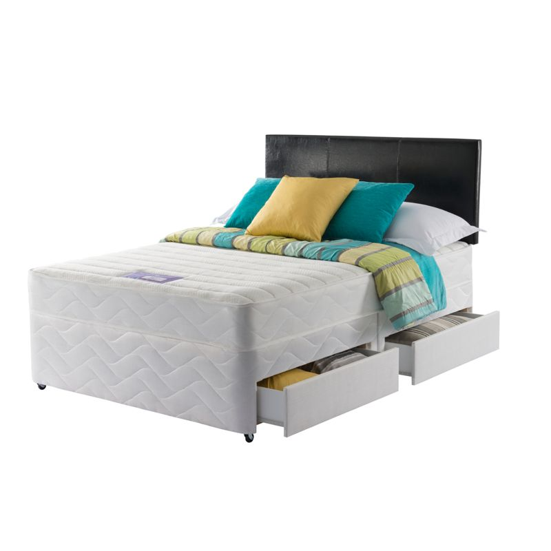 Layezee essentials calm memory small double 4 drw divan bed for Small double divan with mattress
