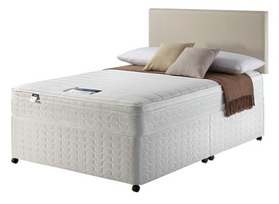 Image of Silentnight Miracoil Travis Cushiontop Double Divan Bed.