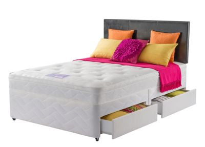 Layezee Essentials Calm Tufted Small Double 4 Drw Divan Bed.