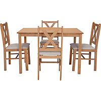 Ava Oak Stain Dining Table and 4 Cream C
