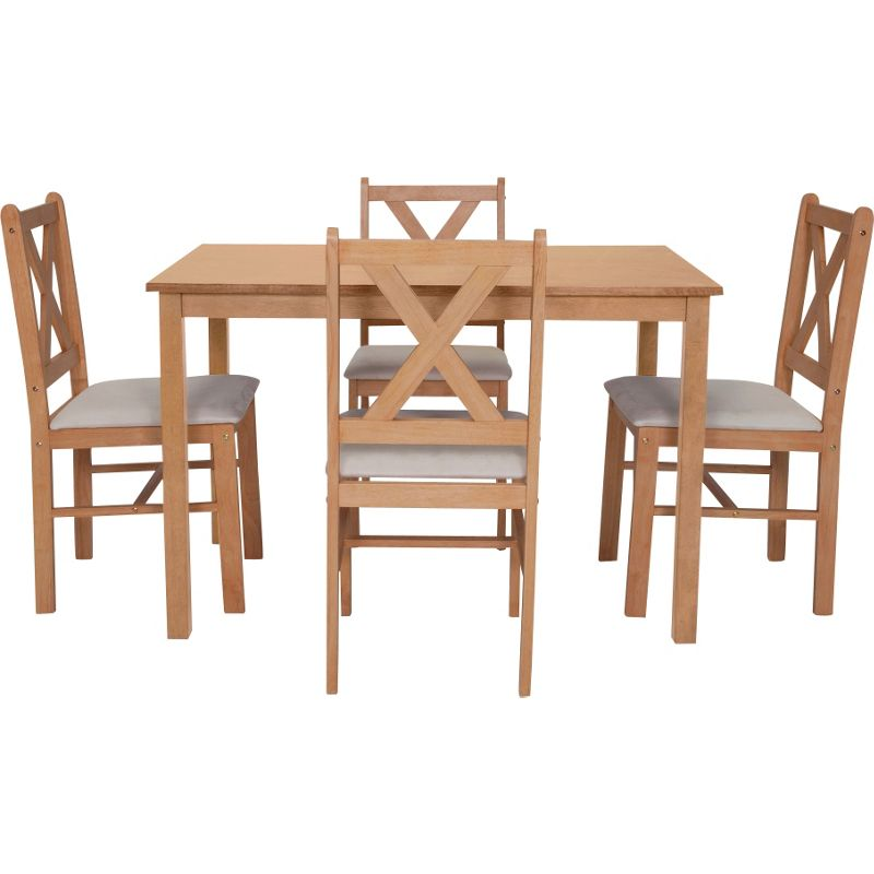 Ava oak stain dining table and 4 cream c for Cream dining table