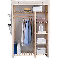 Polycotton and Wood Double Wardrobe - Cream