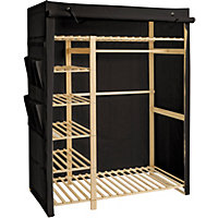 Polycotton and Wood Triple Wardrobe - Black