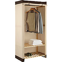 Polycotton and Wood Single Wardrobe