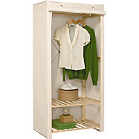 Polycotton and Wood Single Wardrobe - Cream