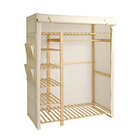 Polycotton and Wood Triple Wardrobe - Cream