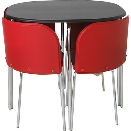 Hygena Amparo Black Dining Table and 4 Red Chairs.