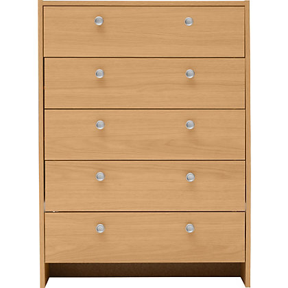 seville 5 drawer chest beech effect at homebase be