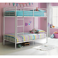 Maddison Single Bunk Bed Frame - White.