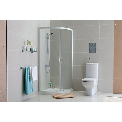 Image for Aqualux Crystal Quadrant Shower Enclosure - 1850 x 800mm - White from StoreName