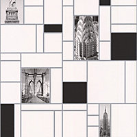 NYC Tile Wallpaper - Black and White