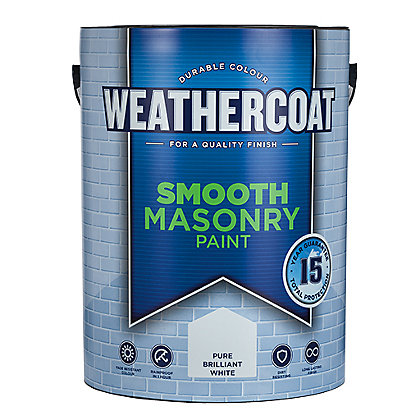 Image for Homebase Weathercoat Pure Brilliant White - Smooth Matt Masonry Paint - 5L from StoreName