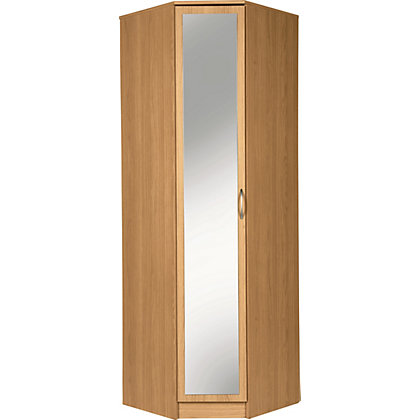 cheval 1 door mirrored corner wardrobe oak effect at