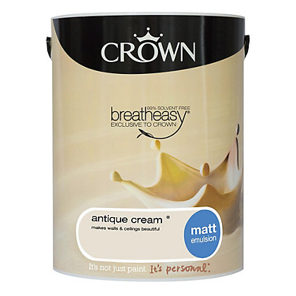 Image for Crown Breatheasy Antique Cream - Matt Emulsion Paint - 5L from StoreName