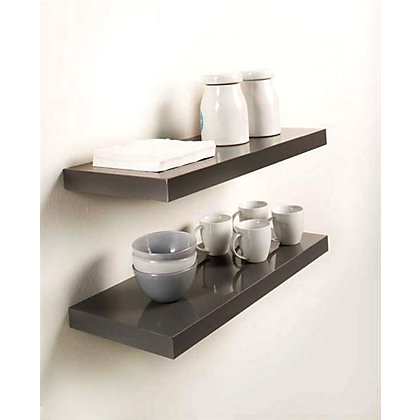 Duraline High Gloss Shelf Grey 80 X 25cm