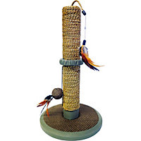Seagrass Kitten Scratch Post with Toys.