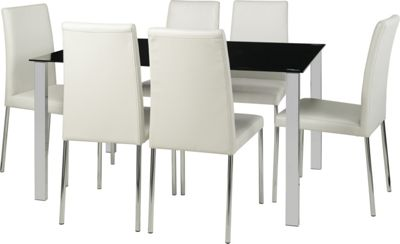 Large Hygena Naples Black Dining Table Ase White Chairs Yakinyx