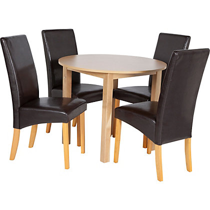 ascot pair of oak effect dining chairs chocolate. Black Bedroom Furniture Sets. Home Design Ideas