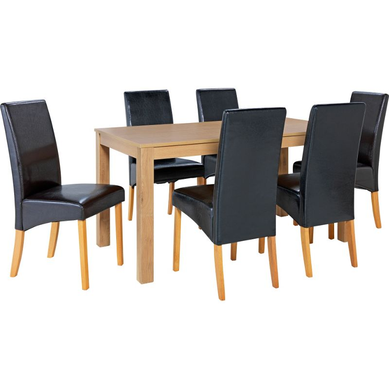 Bromham oak dining table and 6 black skirted chairs for Black dining table and 6 chairs