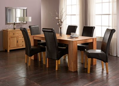 Marston Oak Dining Table and 6 Chocolate Scroll Back Chairs.