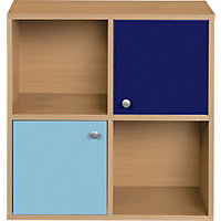 Phoenix 2 Half Door Cube - Blue on Beech