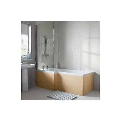 Image for Emberton L Shaped Shower Bath End Panel - Oak from StoreName