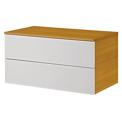 Image for Bracciano Modular 900 2 Drawer For Sit On Basin Laminate Top - Oak with Handless Drawers from StoreName