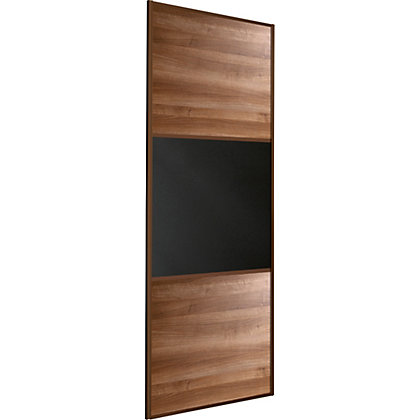 Image for Linear Walnut Panel and Black Glass Sliding Door - 762mm from StoreName