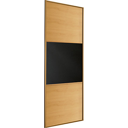 Image for Linear Windsor Oak Panel and Black Glass Sliding Door - 762mm from StoreName