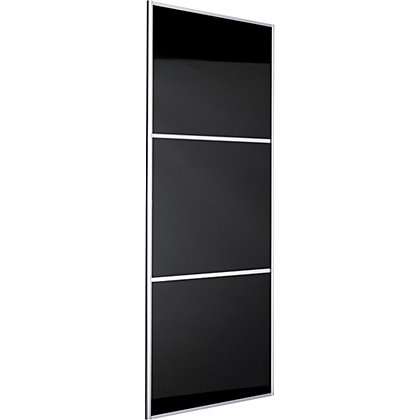 Image for Linear Silver Frame Black Glass Sliding Door - 762mm from StoreName