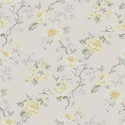 Graham and brown rosamund wallpaper yellow for Wallpaper homebase grey