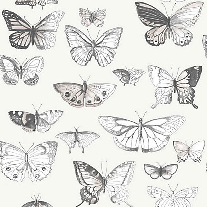 Fresco butterflies wallpaper taupe - Butterfly wallpaper homebase ...