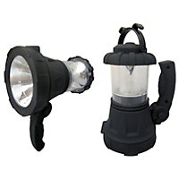 Rechargeable 1W Black Spotlight with Lantern