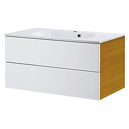 Image for Bracciano Modular 900 2 Drawer Modular Unit with Acrylic Basin - Oak with Handless Doors from StoreName