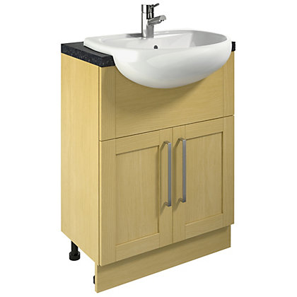Image for Canterbury Bathroom Vanity Unit and Single Tap Hole Basin - Oak from StoreName