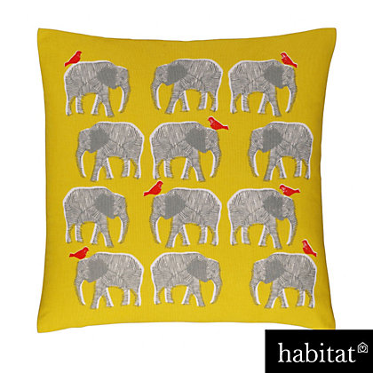 Image for Habitat Topsy Yellow Elephant Patterned Cushion from StoreName