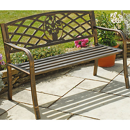 Image for Garden Cast Iron Bench - Brown. from StoreName