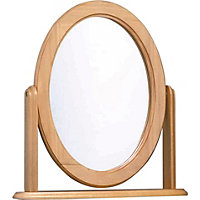 Oak Effect Oval Dressing Table Mirror.