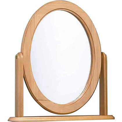 Oak Effect Oval Dressing Table Mirror