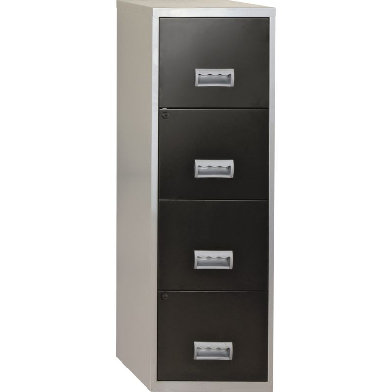 Metal 4 Drawer Filing Cabinet - Silver and Black.