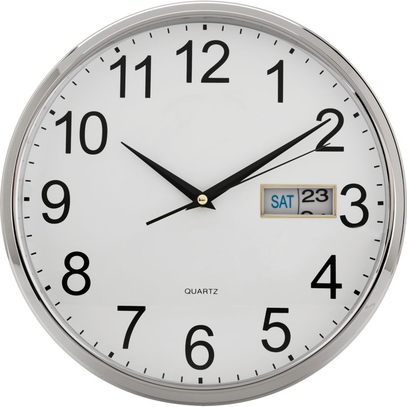 silver day and date wall clock