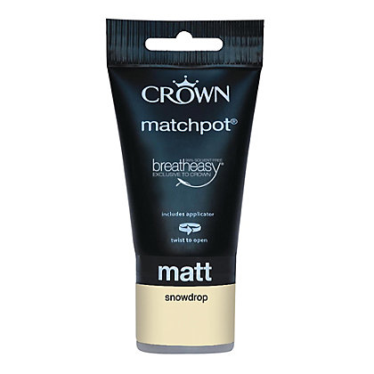 Image for Crown Breatheasy Neutrals Snowdrop - Matt Tester Paint - 40ml Tester from StoreName