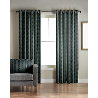 Image for Jeff Banks Sierra Teal Lined Curtains - 66 x 54in from StoreName
