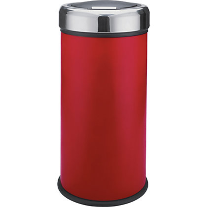 Image for 30 Litre Matt Black Press Top Bin - Red. from StoreName