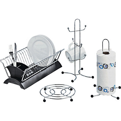 Set of 4 black and chrome kitchen accessories for Kitchen accessories sets