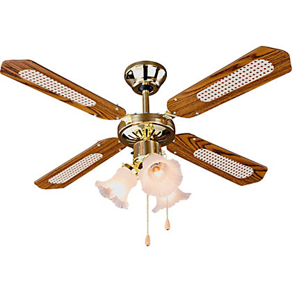 Image for Decorative 3 Light Ceiling Fan - Brass. from StoreName